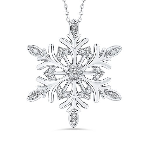 Diamond Snowflake Pendant Necklace in Sterling Silver (1/20 cttw) (Color-JK, -
