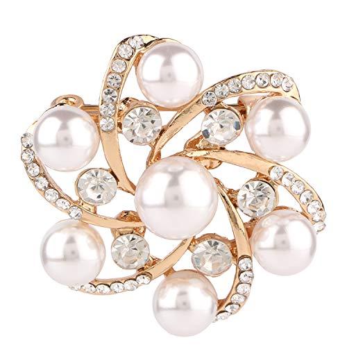 Efulgenz Crystal Rhinestone Pearl Flower Round Bridal Brooch Pin Accessory Jewelry for Girls Women Valentine Birthday Gift (Large Round Brooch)