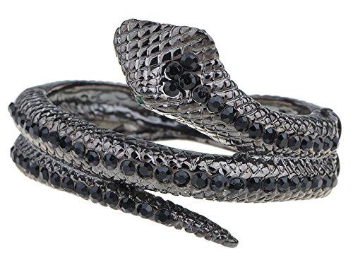 - Alilang Womens Gunmetal Tone Black Rhinestones Antique Snake Wrap Bangle Bracelet
