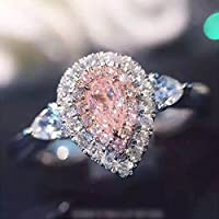 A.Yupha 3ct Pink/White Water Drop CZ Wedding Ring 925 Silver Womens Engagement Size 4-9#Pink (7)
