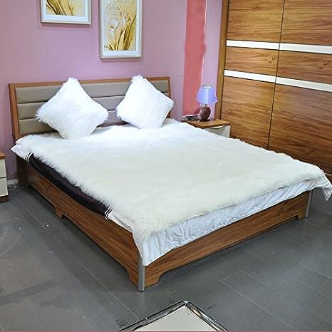 Rectangle Faux Fur Sheepskin Area Rug Baby Bedroom Fluff ...