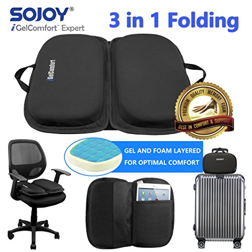 "Sojoy iGelComfort 3 in 1 Foldable Gel Seat Cushion Featured with Memory Foam (A Must-Have Travel Cushion! Smart, Easy Travel Cushion) (Size: 18.5"" x 15'' x 2'') by Sojoy (Image #4)"
