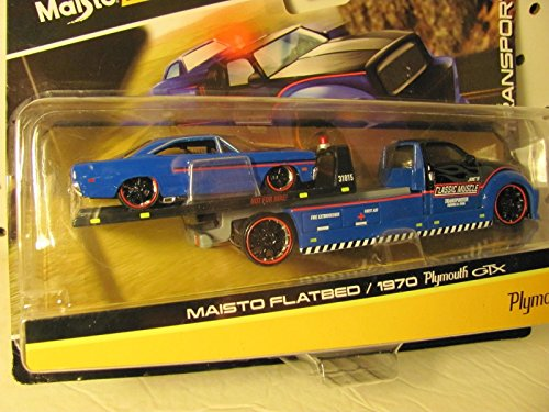 Maisto Design Elite Transport: FLATBED/ 1970 PLYMOUTH GTX BLUE & BLACK (Bed Plymouth)