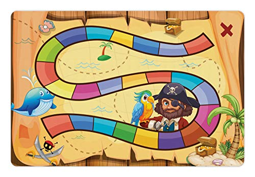 (Ambesonne Nursery Activity Pet Mat for Food and Water, Treasure Hunt in The Adventure of The Pirate Cove Cartoon Drawing Style, Rectangle Non-Slip Rubber Mat for Dogs and Cats, Multicolor)