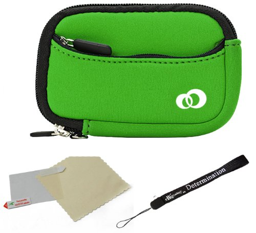 Dark Green - Black Trim Slim Protective Soft Neoprene Cover Carrying Case Sleeve with Extra Pocket for Casio EXILIM Card EX-S200 EX-FH100 EX-G1 EX-H30 EX-Z16 EX-ZR10 EX-ZR100 EX-ZS5 EX-ZS10 Point ()