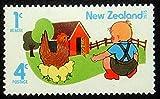 Boy feeding chicken -Handmade Framed Postage Stamp Art 1040AM