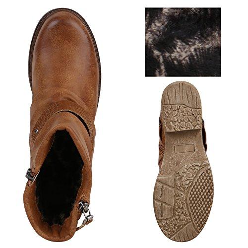 Stiefelparadies Damen Biker Boots Leder-Optik Stiefeletten Warm Gefütterte Booties Blockabsatz Winter Schuhe Winterboots Zipper Snake Print Flandell Braun