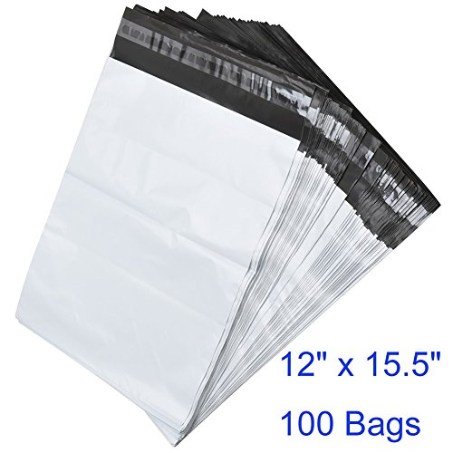 BESTEASY 100 12x15.5 White Poly Mailers Envelopes Bags Shipping Mailing Bags, 100 Bags