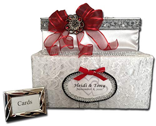 Silver Satin Wedding Card Box, Red Bow, Black lace trim, two tiers, White Lace Overlay, Holds 80 cards, handmade, All The Best Card Boxes