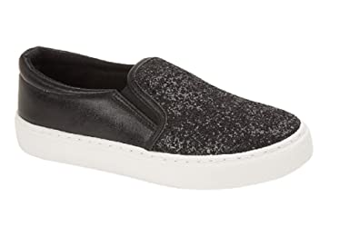 a155cf9a16b056 Womens Ladies Glitter Canvas Size 3 4 5 6 7 8 Slip on Casuals Low Top  Trainers  Amazon.co.uk  Shoes   Bags