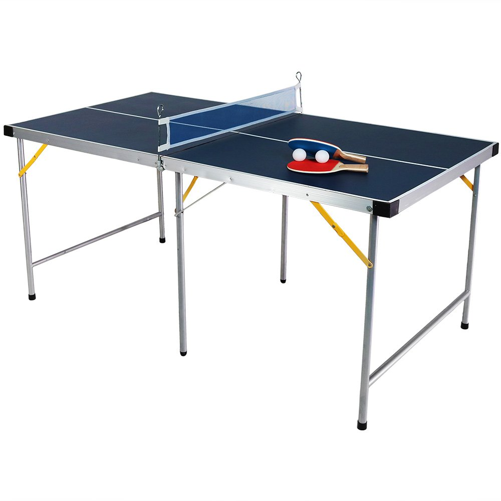 Sunnydaze 60 Inch Indoor Table Tennis Set, Folding Portable Mini Ping Pong, Accessories Included