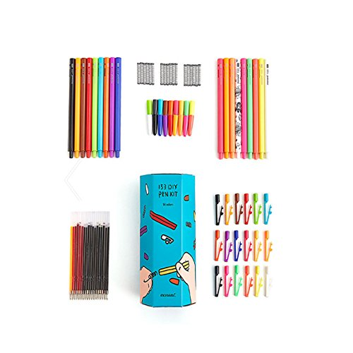 18pcs of DIY Ball Point Pen Kit With 12 Sorts of Refill Inks and 18 Body Colors - 0.5mm - Set of 18 (Vise Bullet)