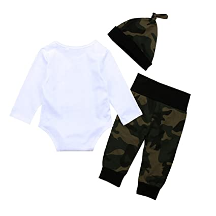 e1ec07da3ed Amazon.com  OUTGLE Newborn Baby Boy Little Brother Romper + Blue Stripe  Trousers + Hat Clothing Set Autumn Outfits  Clothing