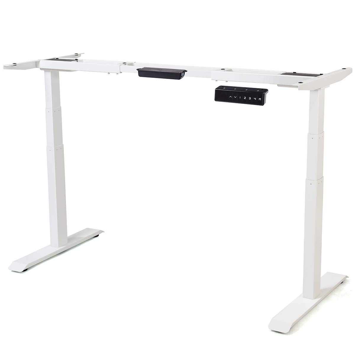 Toolsempire Dual Motor Electric Height Adjustable Standing Desk Frame Sit to Stand Table Base Ergonomic Stand up Riser with Memory Controller (White Frame)