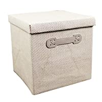 CUUYQ Foldable Storage Bins, Fabric Storage Basket with Lids and Handles Cubes Stackable Fabric Storage Boxes Cloth Storage Box,White_XL