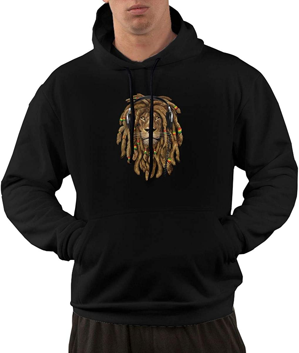 Slotley Dreadlock Rasta Lion Headphones Mens Hoodie Sweatshirt