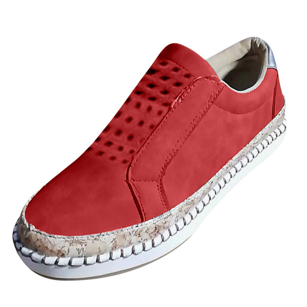 ✔ Hypothesis_X ☎ Women's Casual Walking Shoes Breathable Mesh Work Slip-on Breathable Sneakers Red