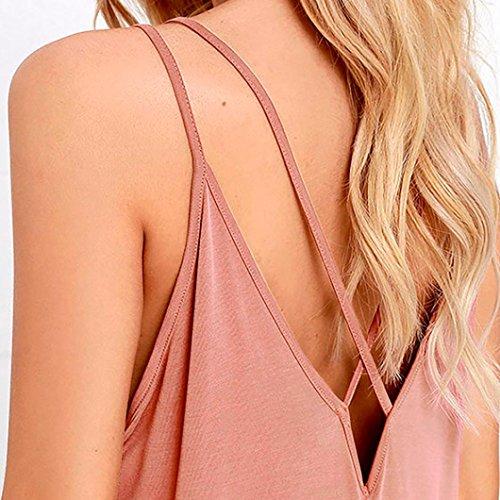 TAOtTAO Frauen Sommer Boho lange Maxi Abend Party Kleid lose Strand Sommerkleid Full Dress Pink GD5XwuC