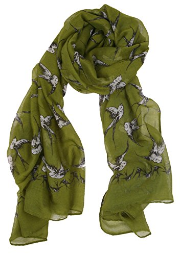 Love Lakeside-Women's Bird Lover's Delight Print Scarves Bright Olive Green (Bright Olive)