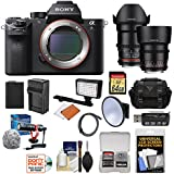 Sony Alpha A7S II 4K Wi-Fi Digital Camera Body 35mm & 85mm T/1.5 Cine Lenses + 64GB Card + Battery & Charger + Case + Flash + Kit