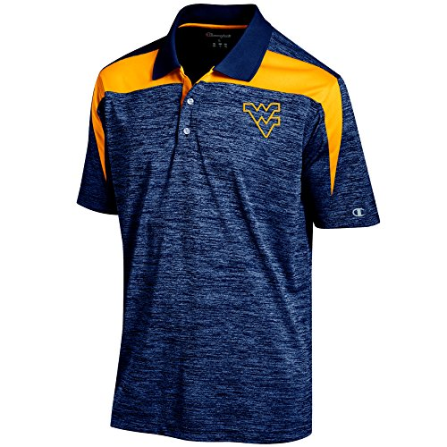 NCAA West Virginia Mountaineers Men's Boosted Stripe Color Blocked Polo, Medium, Navy