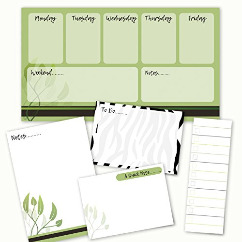 Adhesive Note Set - Nature Notes Adhesive Sticky Note Pack - 5 pads - 50 sheets / pad