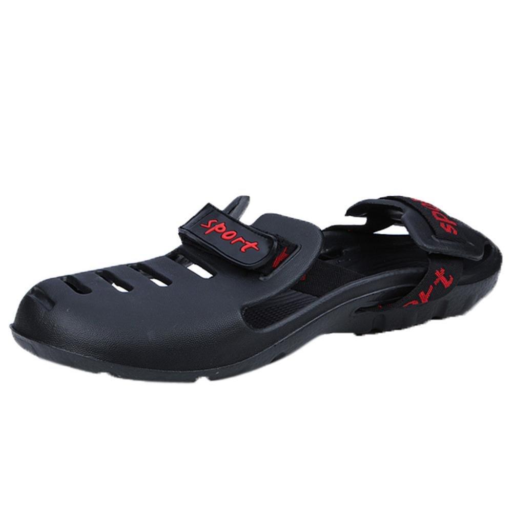 Hausschuhe Damen Sommer LUCKYCAT Loch Schuhe Herren Baotou Hausschuhe Herren Strand Sandalen Strandsandalen Schuhe Pantoletten SandalenCN:42=EU:41|Schwarz