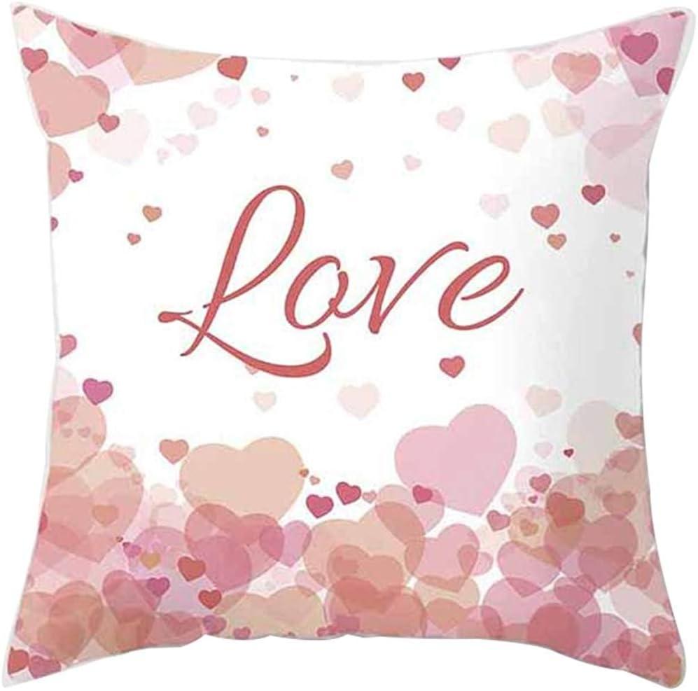 Funda de Almohada romántica Love Heart Letters Print 14, Funda de cojín de poliéster Funda de Almohada 45 X 45 Cm