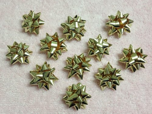 20pc 1″ Metallic Mini Star Confetti Bows Christmas Gift Wrap Bows (Gold)