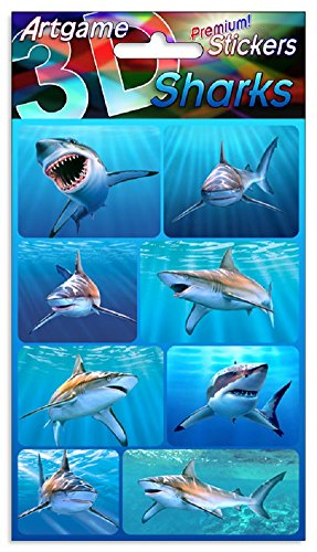Stickers Lenticular (Sharks 3D Lenticular Stickers by Artgame - One Sheet of 8 Assorted Shark Stickers)