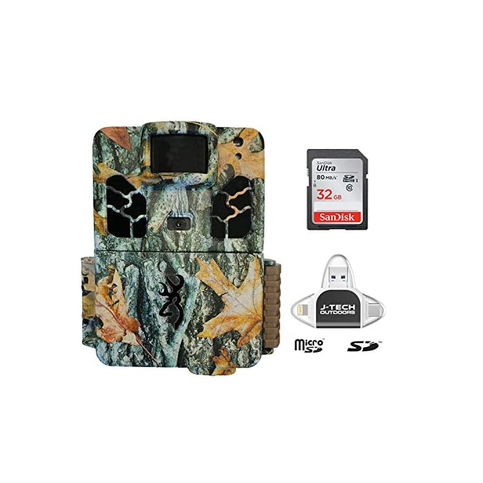 Browning Dark Ops HD PRO X 2019 Trail Game Camera (20MP) with 32GB Memory Card and J-TECH iPhone/iPad/Android USB Memory Card Reader   BTC6HDPX