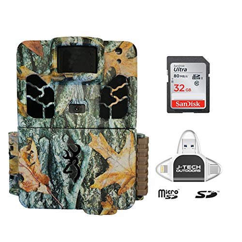Browning Dark Ops HD PRO X 2019 Trail Game Camera (20MP) with 32GB Memory Card and J-TECH iPhone/iPad/Android USB Memory Card Reader | BTC6HDPX (Best Cheap Camera 2019)