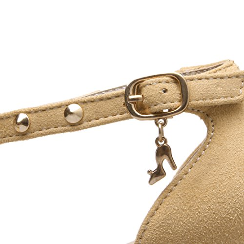AIYOUMEI Damen Knöchelriemchen Pumps mit Nieten Blockabsatz High Heel Bequem Wildleder Spitz Schuhe Aprikose