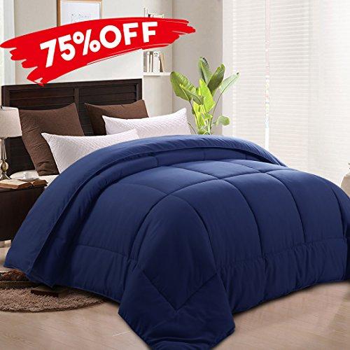 MEROUS Duvet Insert Goose Down Alternative Comforter -Hypoallergenic and Lightweight Luxury Hotel Collection(Full/ Queen,Navy Blue)