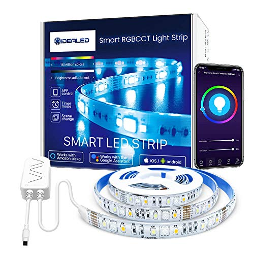 GIDEALED Smart Lights RGBWW Super Bright LED Strip Lights Work with Alexa/Google Assistant,APP/Voice Controlled RGBCCT Lightstrip Plus 6.56ft Dimmable Ambiance Color Changing Lights