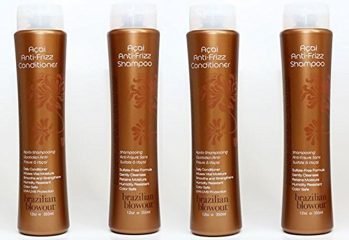 Brazilian Blowout Anti-Frizz Shampoo & Conditioner 12-ounce bottles Pack Of 4 by N/A