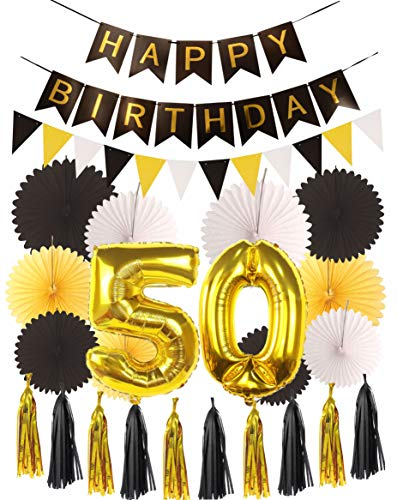 50th Birthday Party Decorations KIT - Happy Birthday Black Banner, 50th Gold Number Balloons, Gold and Black, Number 50, Perfect 50 Years Old Party Supplies -