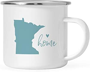Andaz Press 11oz. US State Stainless Steel Campfire Coffee Mug Gift, Aqua Home Heart, Minnesota, 1-Pack, Metal Camping Camp Cup Long Distance Moving Away Hostess Graduation Gift
