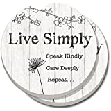CounterArt Absorbent Stoneware Car Coaster, Live Simply - Set of 2