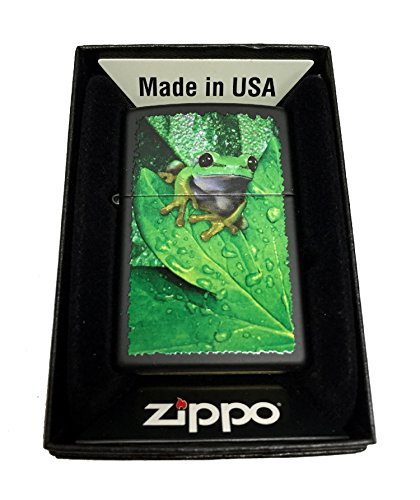 Zippo Custom Lighter - Peeking Frog on Leaves - Regular Black Matte