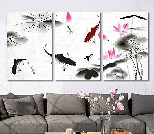 3 Panel Ink Painting Style Fish in the Pond with Lotus Flower x 3 Panels