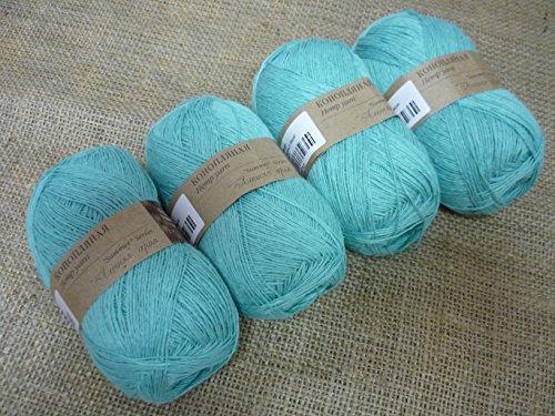 30% Hemp Yarn 70% Cotton Yarn Thread Crochet Lace Hand Knitting Yarn Craft Art Embroidery Lot of 4 skeins 200gr 1224yds Color Turquoise 762