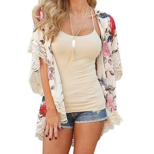 Pengy Women Fashion Floral Printed Summer Autumn Kimono Cardigan Plus Size Chiffon Shawl Blouses (M, Beige)