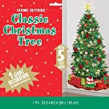 "Classic Christmas Tree Giant Scene Setters Add‑Ons, Wall Decoration, Plastic, 65"" x 33.5"""