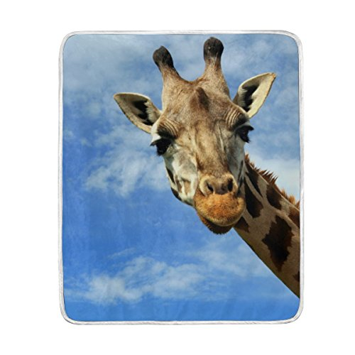 ALAZA Cooper Girl Wild Giraffe Under Sky Throw Blanket Soft Warm Bed Couch Blanket Lightweight Polyester Microfiber 50x60 inch