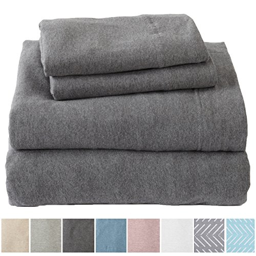 Extra Soft Heather Jersey Knit (T-Shirt) Cotton Sheet Set. Soft, Comfortable, Cozy All-Season Bed Sheets. Carmen Collection By Great Bay Home Brand. (King, Charcoal)