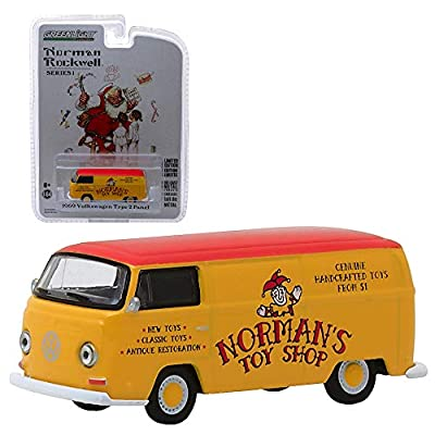DieCast 1969 Volkswagen Type 2 Panel Van Yellow with Red Top Norman's Toy Shop Norman Rockwell Delivery Vehicles Series 1 1/64 Model by Greenlight 37150 D: Toys & Games