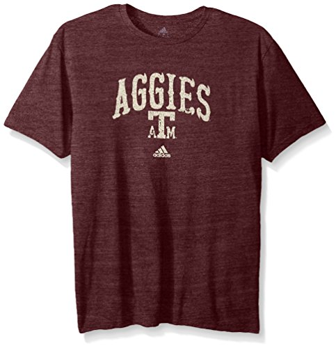 adidas NCAA Texas A&M Aggies Adult Men Pastime Arch Vault Tri-Blend S/Tee, Large, Classic Maroon -