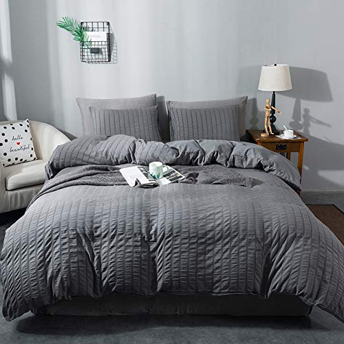 AveLom Seersucker Duvet Cover Set Twin Size (68 x 90 inches), 3 Pieces (1 Duvet Cover + 2 Pillow Cases), Dark Gray Ultra…
