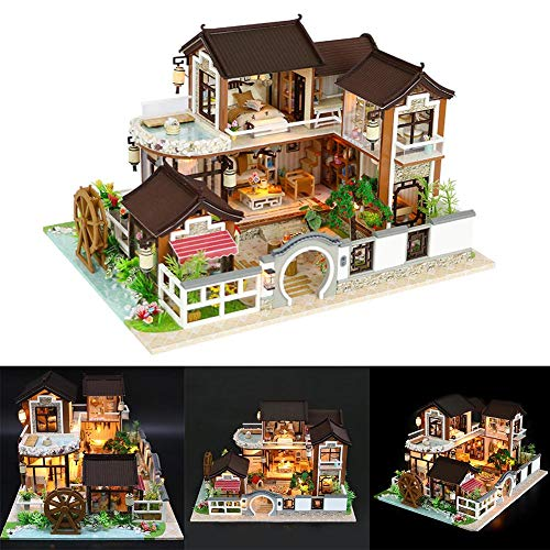 Wooden Dollhouse Miniature DIY Small House Kit Creative Room Model Play Toy Tiny Dream Garden Tree House Artwork Decor with LED, Best Kids Birthday Christmas Gift ()